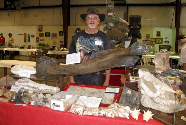 Ron Ruble had fossils & much more on his table-2011.