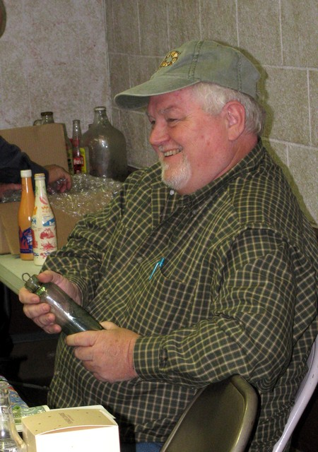Pete Wyatt with his one-of-a-kind Unaka Bottling Works Erwin, Tenn. hutch! You'd be smiling too!